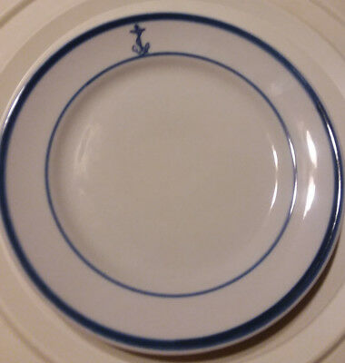 """Shenango China USN US Navy WWII Era Officers Mess Fouled Anchor 6"""" Bread Plate"""