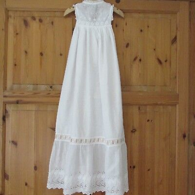 Antique/Victorian Whiteworked Long Christening Gown,Lace trim.Ideal for Doll