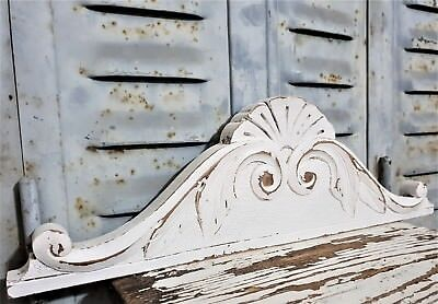 """Shabby Painted Hand Carved Wood Pediment 16""""1 Antique French Architectural Crown"""