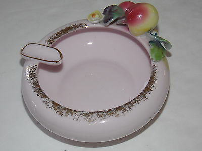 Vintage LEFTON CHINA Pink Ash Tray Decorated With Fruit #4080 - Japan