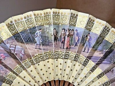 Vintage Old Paper with Royalty Outdoor Picnic Scene Hand Fan 12""