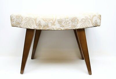 Vintage Mid-Century Vanity Bench Wood Legs Chair Padded Seat Foot Bench