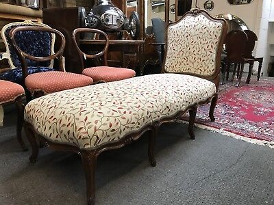 Antique French Chaise Longue, Stool. Daybed. New Upholstery