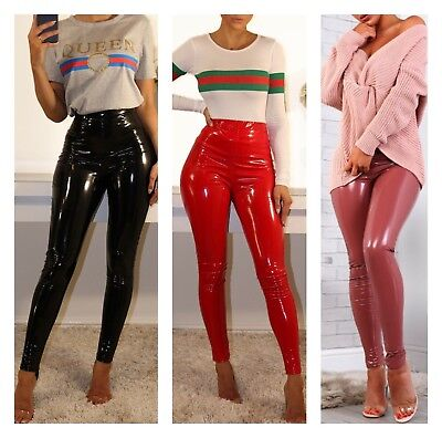 New Womens PU High Waisted Vinyl Skinny Shiny Wet Look Leggings Trousers Pant£35