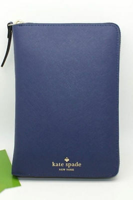 Kate Spade CAMERON STREET ZIP AROUND Planner Agenda Indigo BLUE LEATHER NEW $198