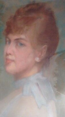 Antique French Artist 19th Century Pastel Portrait Lady Beautifully Framed