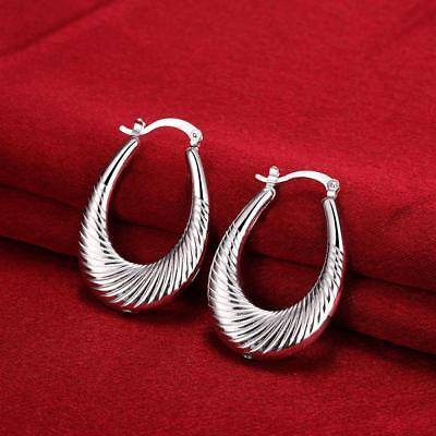Womens 925 Sterling Silver Classic 39mm Oval Shaped Vogue Hoop Earrings #E185