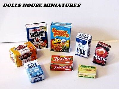 Grocery Boxes Dolls House Miniatures  Breakfast