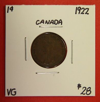 1922 Canada One Cent Penny Coin BC 20 - $28 VG - Key Date