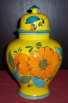 VINTAGE 1970s BRIGHT ITALIAN  LIDDED POTTERY JAR EXCELLENT CONDITION