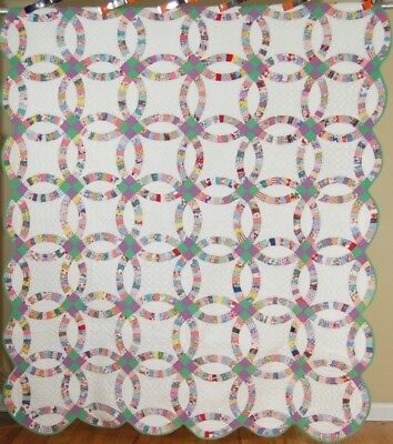 BEAUTIFUL Vintage 30's Double Wedding Ring Antique Quilt ~EXCELLENT QUILTING!