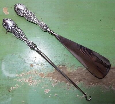 Antique Sterling Silver Matching Button Hook Shoe Horn - Floral Embossed 1903