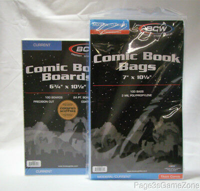 "BCW 100 Thick 7"" x 101/2"" Comic Bags & 6 3/4"" x 10 1/2"" Boards Modern/Current"