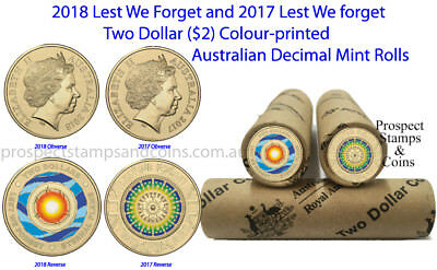 2018 and 2017 - 'Lest We Forget' Australian $2 Coloured Coin roll - 2 Mint rolls