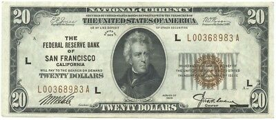 1929 $20 FRBN The Federal Reserve Bank of San Francisco, CA Fr #1870-L