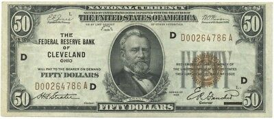 1929 $50 FRBN The Federal Reserve Bank of Cleveland, OH Fr #1880-D