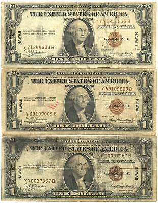 Lot of 3 1935A $1 Hawaii WWII Emergency Issue Silver Certificates Y-B Block