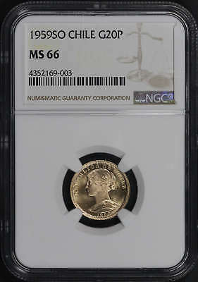 1959 SO Chile Gold 20 Pesos NGC MS-66 Finest known Pop 2! -164583