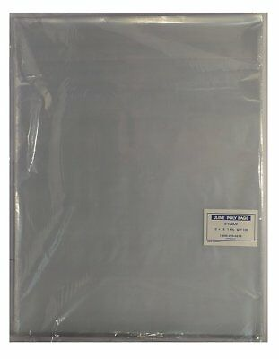 """Uline 12x15"""" Clear Poly Bags Back Flap 1 mil  NEW S-10609"""
