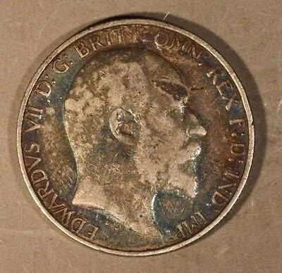 1903 Great Britain Two Shilling Florin Toned Nice  ** FREE U.S. SHIPPING **
