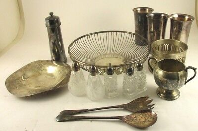 15 Piece Lot Of Silverplate, Bowl, Salt & Peppers, Glasses, Pepper Grinder Etc