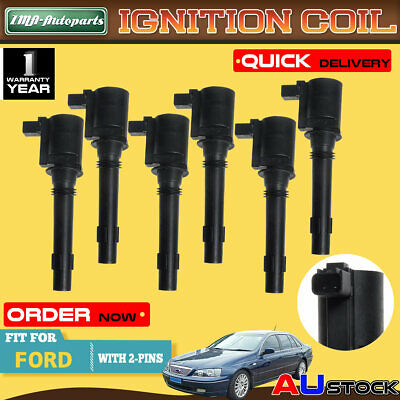 6Pcs Ignition Coils for Ford Falcon Fairmont Fairlane BA BF XR6 Territory SX SY