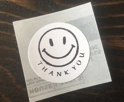 """100 Thank You Happy Face ! Stickers Envelope/package Seals Labels 1"""" Round"""
