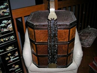 Amazing Superb Huge Wicker 3 Tier Etched Antique Chinese Wedding Basket 30X20X16