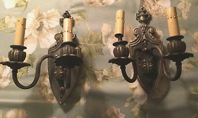 Pair Of Antique French Renaissance Solid Bronze Wall Sconces Light Electrified
