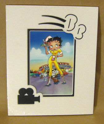 BETTY BOOP CARHOP PICTURE BB & Pudgy on Rollerskates at Diner Matted Die-Cut Art