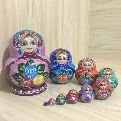 10pcs Set Wooden Russian Nesting Flower Dolls Stacking Babushka Matryoshka