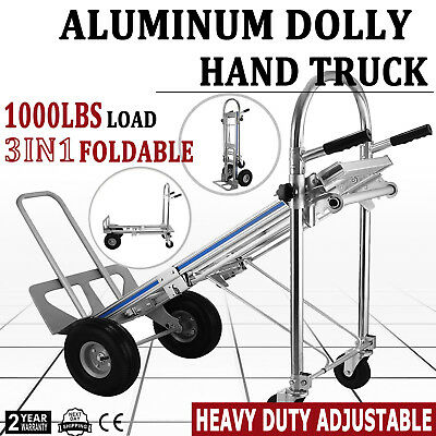 3 In 1 Aluminum Hand Truck Dolly 1000 LB Utility Cart Folding Multifunction