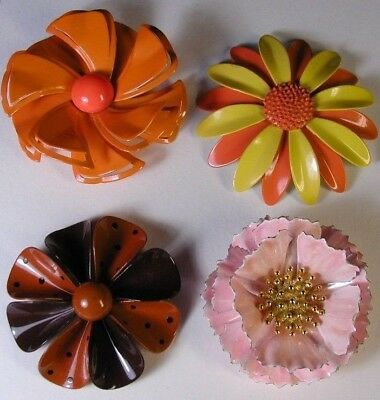 Vintage 1960's Large Metal Enamel Colorful Pins Brooches Flowers Lot of 4