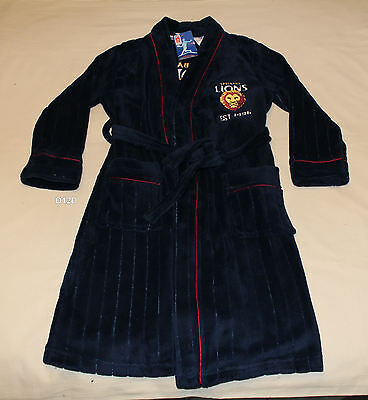 Brisbane Lions AFL Boys Navy Blue Embroidered Fleece Dressing Gown Size 8 New