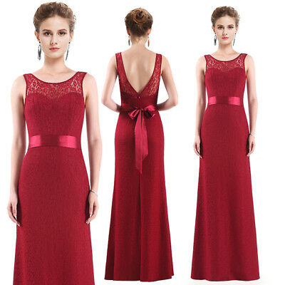 Ever-Pretty Long Sleeveless Evening Dresses Backless Burgundy Prom Gown 08938