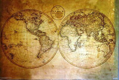 Olde Style World Map- Poster-Laminated available-90cm x 60cm-Brand New