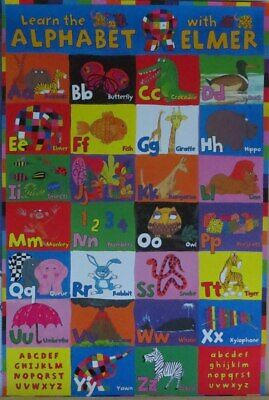 Learn The Alphabet With Elmer Educational - Poster-Laminated available-91cm x...