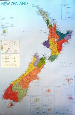 New Zealand Map- Poster-Laminated available-90cm x 60cm-Brand New