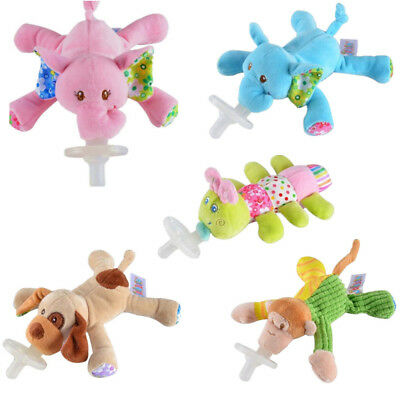 Baby Pacifiers Animal Nipple Infant Silicone with Cuddly Plush Q 1Pc