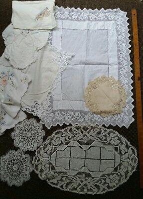VINTAGE 1930s LACE,  EMBROIDERED & CROCHETED LINEN & COTTON DOILIES ×9