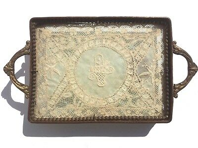 Antique 19th Century France Tray Fancy Brass & Glass w/ Lace Insert Rectangular
