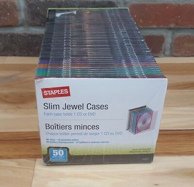 Staples Slim Jewel Cases - (40 Clear, 10 Assorted Colors) CD/DVD *New & Sealed*