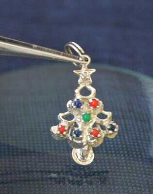 Pretty Vintage Decorated Christmas Tree Silver Charm