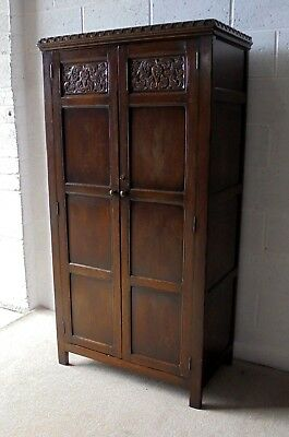 Antique Georgian Gothic Style Carved Solid Oak Wardrobe With Lock & Key