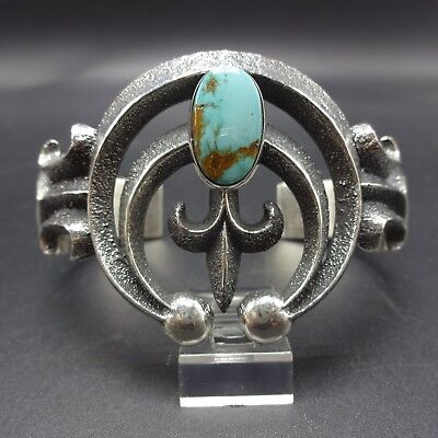 Vintage AARON ANDERSON Navajo Sterling Silver & TURQUOISE Cuff BRACELET 60.3g