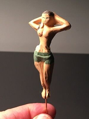 """1950's """"topless Beauty"""" Risque Stick Pin With Rubber Figure ~ Japan ~ Excellent!"""
