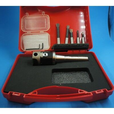 """Clearance !! Boring Head 2"""" Size Set With R 8 Arbor And 5 Pieces Hss Cutters"""