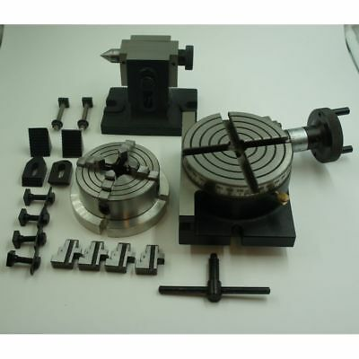 """4"""" ROTARY TABLE  HORIZONTAL / VERTICAL with, tailstock and 4 jaw chuck"""