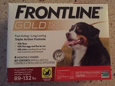 Frontline Gold For Dogs 89-132 Lbs 6Pack Epa Approved Sealed Box