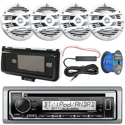 Marine CD Bluetooth Radio + Cover, 4x White Speakers + Wire, Amp Booster Kit